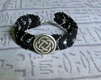 Micro macrame bracelet with Celtic knot button. Black and crystal macrame jewelry.