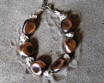 Micro macrame Hemp Bracelet in chunky copper. Micro macrame hemp jewelry.