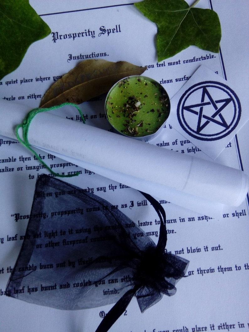 Money Spell Kit  Prosperity spell kit  Wealth spell kit  Candle magic kit   Witchcraft