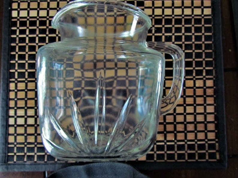 VINTAGE MILK JUG Mid Century Glass Jug  Pitcher Mint Condition