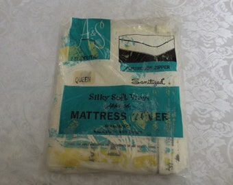 Queen Mattress cover: Silky Soft Vinyl Zippered mattress cover by A & S Supreme. hay fever-sinus. Rustproof zipper. New old stock.