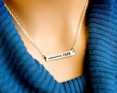 Thin Blue Line Personalized Necklace for Police or Police wife.Custom Law Enforcement Badge Number Rectangle Bar-Sterling, Gold or Rose Gold