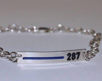 Thin Blue Line Women S Leather Bracelet Personalized Etsy