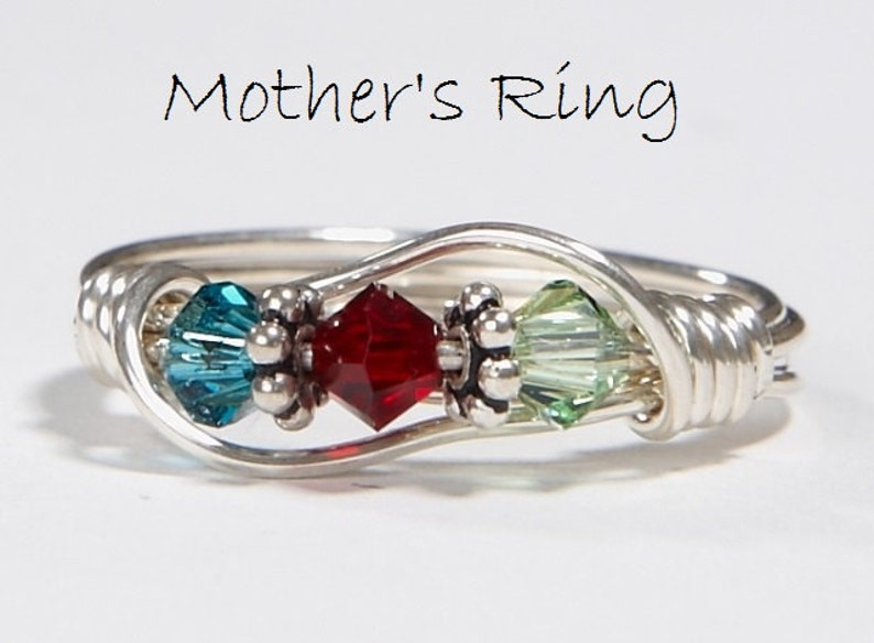 3 Birthstone Mother's Ring. Personalized Sterling Silver image 0