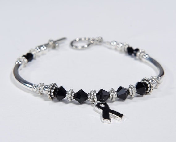 Sleep Disorders survivorcrystals Skin Cancer Awareness #01 Anti-Terrorism support Black Ribbon Charm Bracelet: Awareness for Melanoma