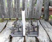 Vintage Heavy Cast Iron Cross Non-matching Bookends