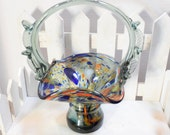 Blown Glass Basket, Murano-style glass basket, Formed Glass basket, Glass art bowl