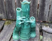 Bamboo Triple Spill Vase Lucky Bamboo Trio with Shiny Green Glaze Tall Ceramic 3 in One Bud Vase Bamboo Planter Asian Decor