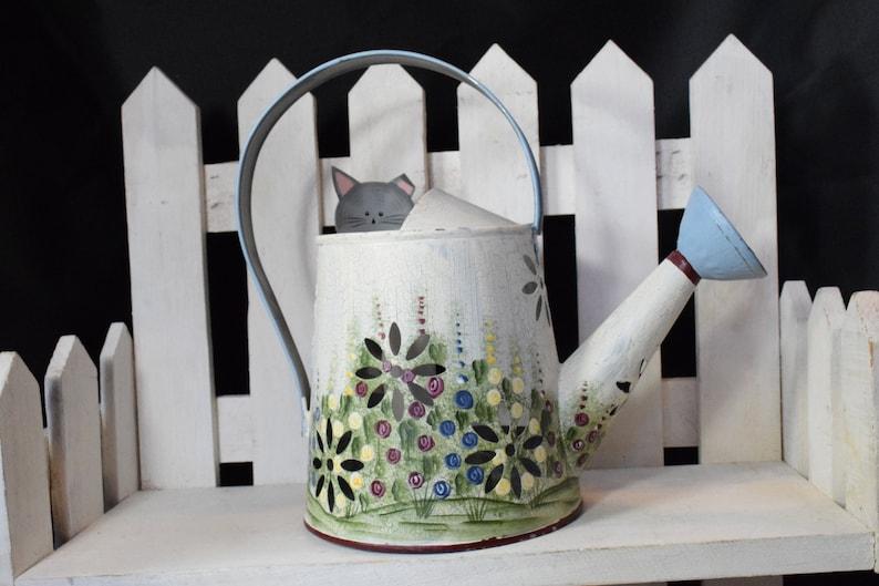 metal tea light,Floral metal watering can,watering can tea light,hand painted metal tealight Kathy Hatch 2001 watering can,Tea light