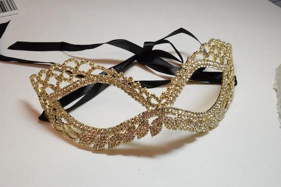 Gold Rhinestone Masquerade Face Mask Sparkling Face Mask Mardi Gras mask Wedding mask New Years Eve