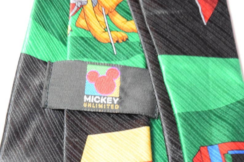 Mens Christmas Tie Mickey Mouse Golfing with Pluto Novelty Necktie Black and Green Holiday Tie