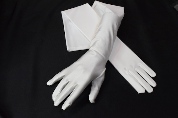 "15/"" IVORY ELBOW LENGTH STRETCH SATIN BRIDAL WEDDING PROM COSTUME OPERA GLOVES"