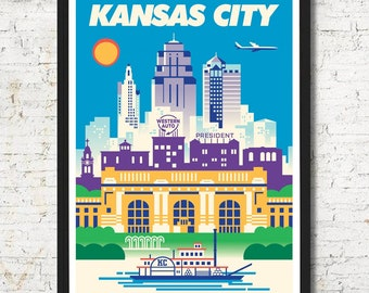 Kansas City, Kansas City poster, Kansas City wall art, Kansas City art print, Kansas City, Kansas City skyline, Kansas City art