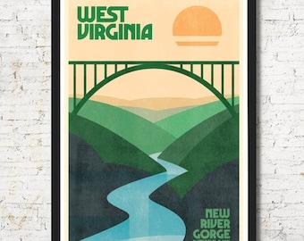 West Virginia poster, West Virginia wall art, West Virginia print, West Virginia art print, gift, New River Gorge, Wall decor, Home decor