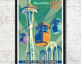Seattle World's Fair, Seattle poster, Seattle wall art, Seattle art print, Seattle skyline, Seattle print, Seattle art, Wall art, Home decor