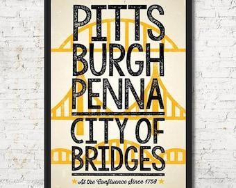 Pittsburgh poster, Pittsburgh wall art, Pittsburgh art print, Pittsburgh bridge, Pittsburgh art, Wall decor, Gift, Pittsburgh print