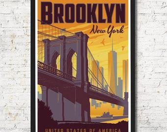 Brooklyn Print | Brooklyn Vintage Travel Poster | United States Print | Brooklyn Poster | City Skyline Wall Art | Home Decor | Gift