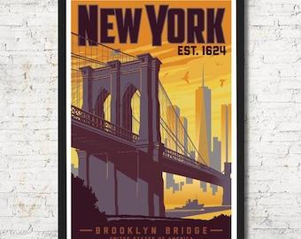 New York Print | New York Vintage Travel Poster | United States Print | New York Poster | City Skyline Wall Art | Home Decor | Gift