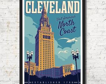 Cleveland poster, Cleveland wall art, Cleveland art print, Poster, Cleveland skyline, Cleveland print, Wall decor, Gift, Home decor