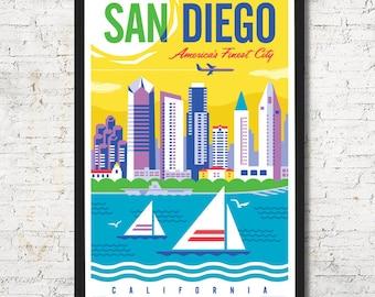 San Diego, San Diego poster, San Diego wall art, San Diego art print, San Diego skyline, San Diego Wall decor, Gift, Home decor