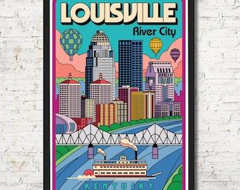 Louisville poster, Louisville wall art, Louisville print, Louisville art print, gift, Louisville skyline, Wall decor, Home decor, Louisville