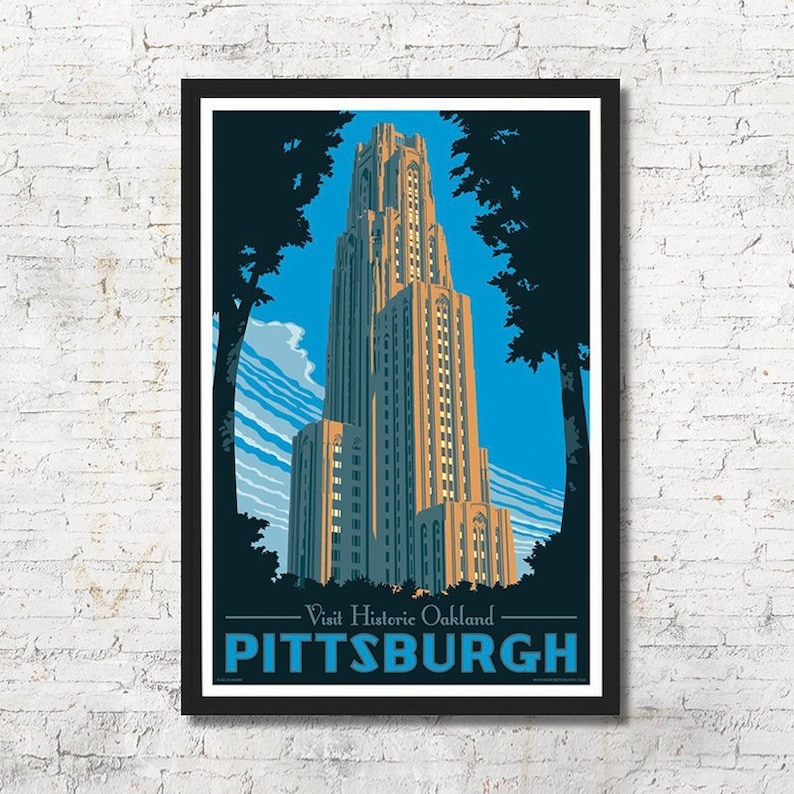 Cathedral of Learning poster Pittsburgh wall art Pittsburgh image 0