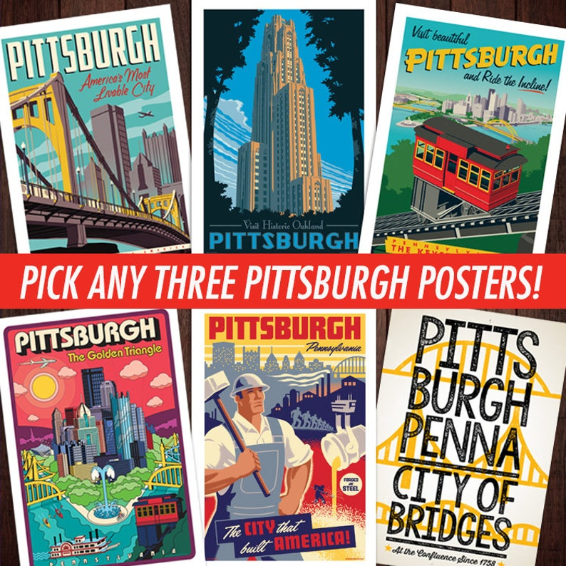 Pittsburgh poster Pittsburgh wall art Pittsburgh art print image 0