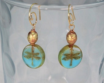 Dragonfly earrings gold and blue, dragonfly earrings, dragonfly jewelry