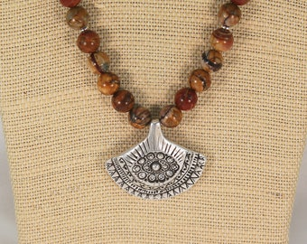 Picasso jasper necklace with pendant, jasper necklace, mothers day gift.