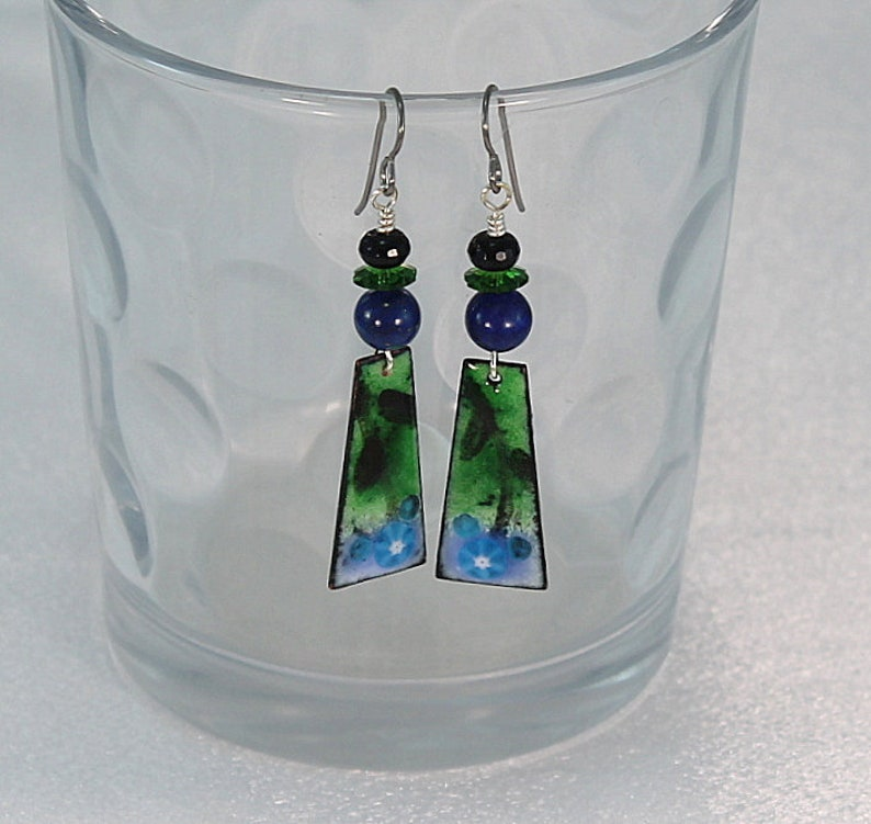 Enameled Earrings Green And Blue Enamel Earring Dangle Lapis Black Onyx Blue and Green