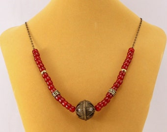 Red Necklace, cherry red glass crow beads, large brass focal, trade beads