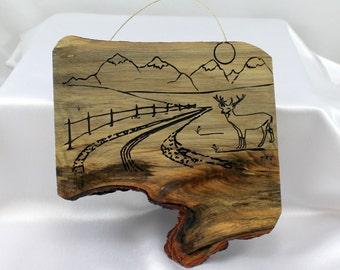 Holz Plaque, Hirsch-Kunst, Berg Kunst, rustikale Hütte Kunst, Geschenk für Papa