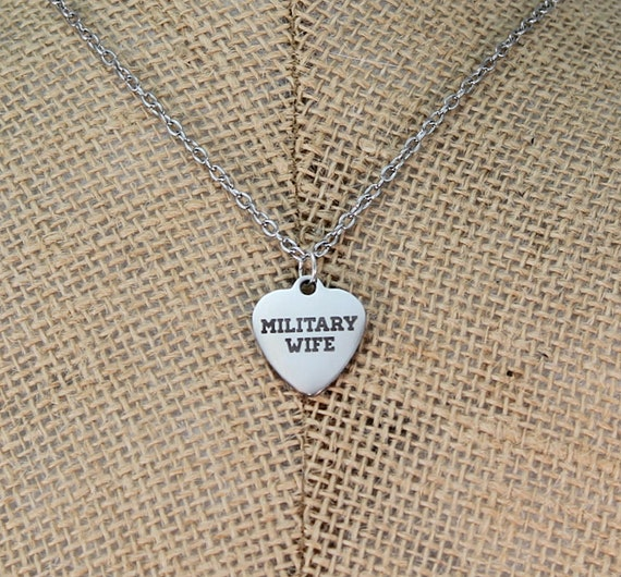 Military wife necklace Military wife gifts Deployment gift. Military wife charm pendant in sterling silver on an 18 sterling cable chain