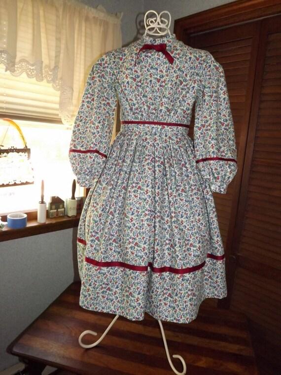 Victorian Kids Costumes & Shoes- Girls, Boys, Baby, Toddler  Girls Size 8 Civil War Red Cream Blue Fruit Print Reenacting Dress $67.00 AT vintagedancer.com