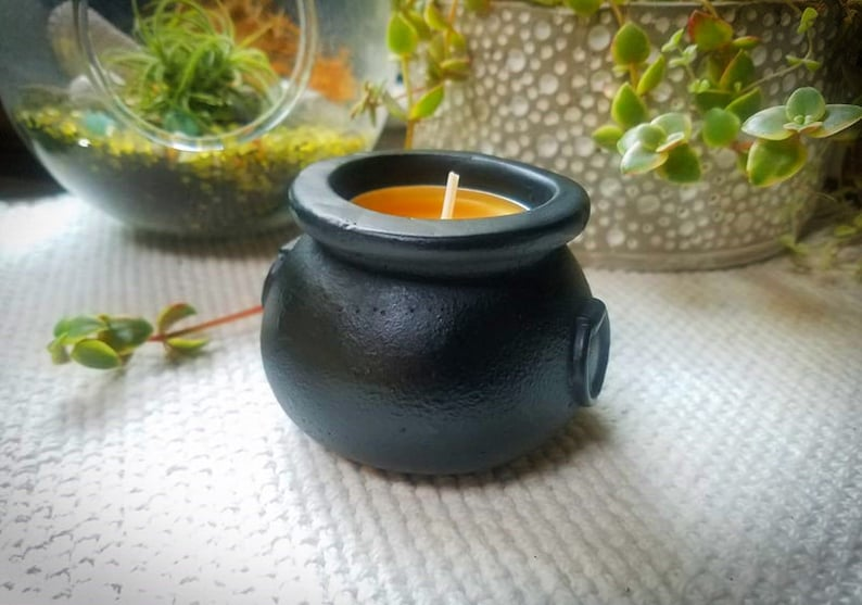 Cauldron candle holder mini candle holder black tea light image 0