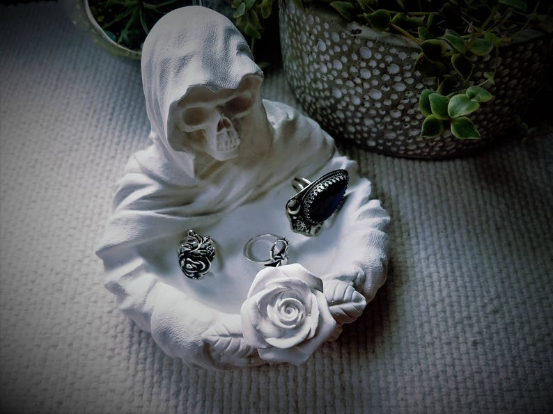 death is coming reaper candle holder reaper with rose jewelry holder Grim Reaper ring dish angel of death business card holder