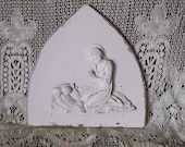 Carved wood Madonna and child wall hanging shabby white