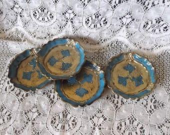 Vintage blue and gold florentine coaster set of 4
