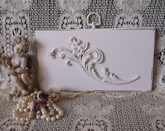 Shabby and Chic White Floral Wall hanging, 2 dimensional wood and metal
