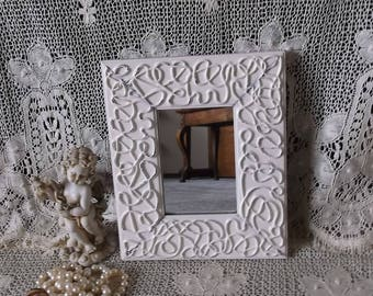 Small wall mirror, shabby white rope design, repurposed decor