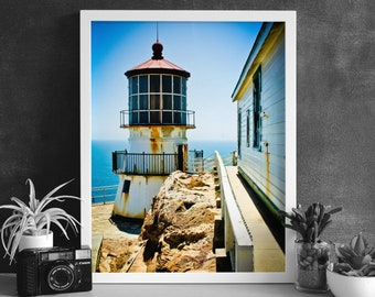 Lighthouse Print - Point Reyes - California - Digital Photography - Photography Download - Digital Print - Architectural Photography