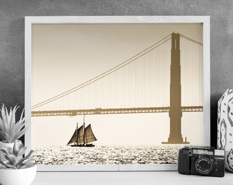 Golden Gate Bridge Photograph - San Francisco Photography - The Alma - Vintage Boat - VIntage Schooner - Digital Print