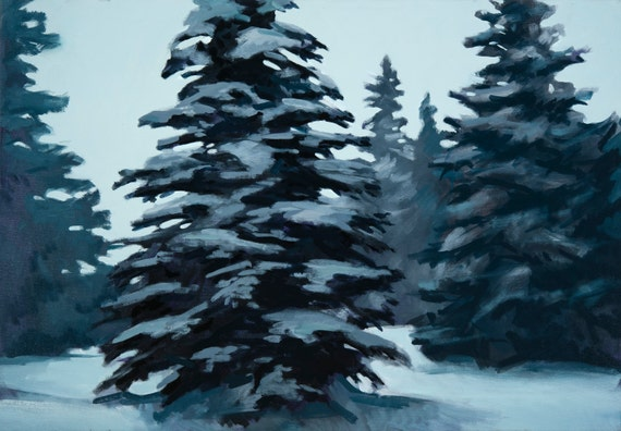 oil painting pine trees snow winter etsy