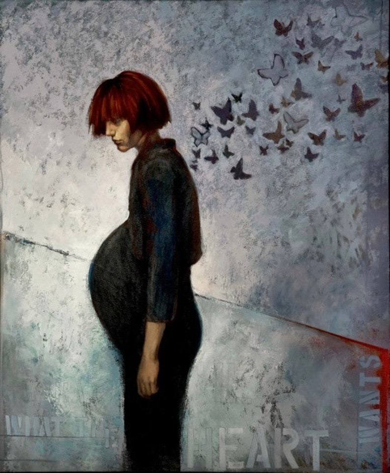 Oil painting pregnant pregnancy butterflies Making zdjęcie 0