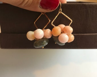 Pink Opal, Labradorite, Gold filled Earrings, Lilyb444, Gifts for women, Gifts for her, Gifts for mom,