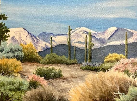 Desert Snow 12x16 painting Arizona