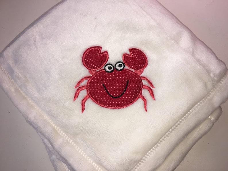 Ocean Crab Applique Baby Blanket Personalized Free