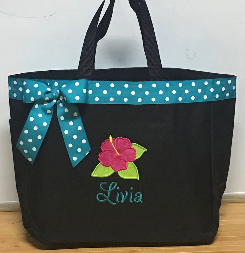 Personalized Hibiscus Hawaiian Flower Bag Tote Etsy
