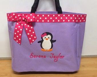 Personalized Baby Girl Penguin Diaper Bag Tote