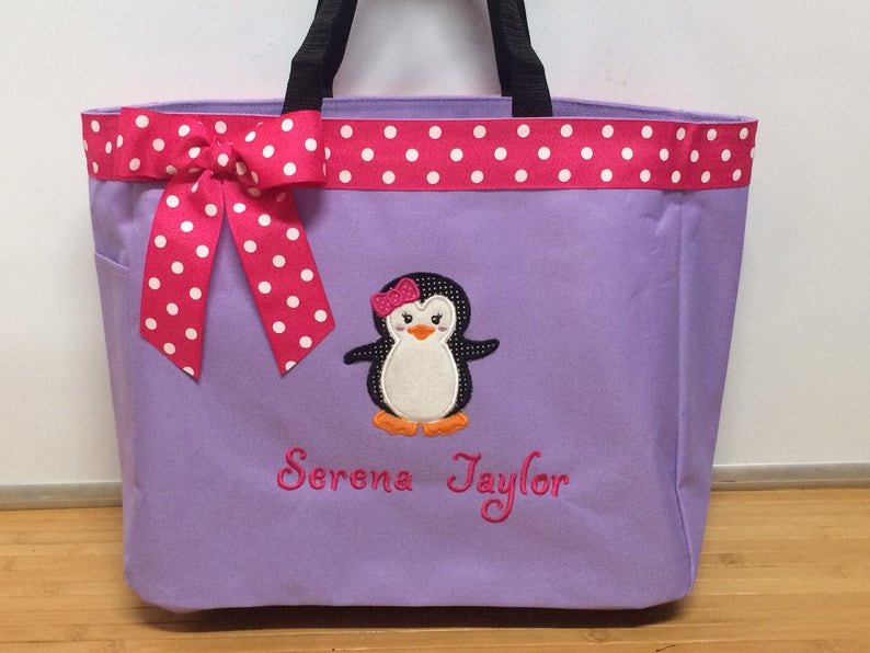 5f0bf75a50 Personalized Baby Girl Penguin Diaper Bag Tote | Etsy